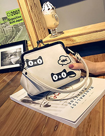 Lovely White Cartoon Cat Decorated Color Matching Mini Shoulder Bag