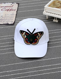 Trendy White Embroidery Butterfly Decorated Pure Color Baseball Cap