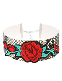 Fashion Red Embroidery Flower Decorated Color Matching Simple Choker