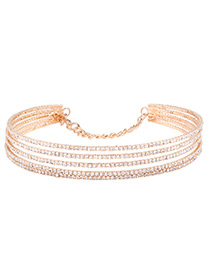 Fashion Gold Color Diamond Decorated Multi-layer Pure Color Choker