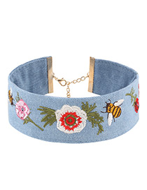 Fashion Blue Embroidery Flower&bee Decorated Color Matching Simple Choker
