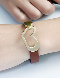 Fashion Dark Coffee Heart Shape Decorated Color Matching Bracelet