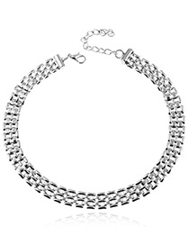 Trendy Silver Color Pure Color Decorated Double Layer Design Necklace
