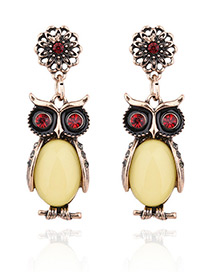 Exaggerated Black Oval Shape Gemstone Decorated Owl Shape Earrings
