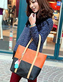 Fashion Black +orange Color Matching Decorated Square Shape Design Shoulder Bag