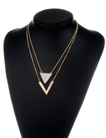 Fashion White Triangle Shape Pendant Decorated Simple Double Layer Necklace