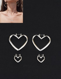Fashion Silver Color Heart Shape Decorated Pure Color Earrings