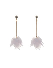 Trendy Pink Leaf Shape Decorated Color Matching Long Earrings
