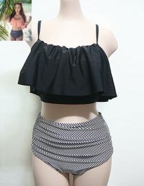 Trendy Black Tripe Pattern Decorated High Waist Simple Design Bikini