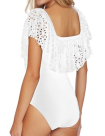 Sexy White Hollow Out Flower Shape Decorated One Piece Design Bikini