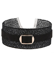 Trendy Black Buckle Decorated Pure Color Simple Lace Choker