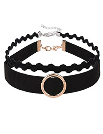Fashion Black Circular Ring Decorated Double Layer Color Matching Choker
