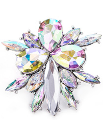 Trendy Multi-color Geometric Shape Diamond Decorated Color Matching Ring