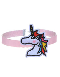 Fashion Pink Embroidery Horse Decorated Color Matching Choker