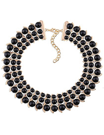 Trendy Black Diamond Decorated Bead Shape Pure Color Simple Necklace