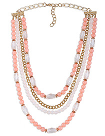 Fashion Pink Round Shape Decorated Simple Multilayer Long Chain Necklace