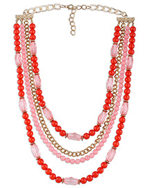 Fashion Red Round Shape Decorated Simple Multilayer Long Chain Necklace