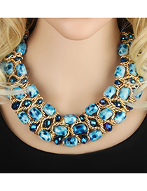 Trendy Multi-color Round Shape Decorated Simple Multilayer Short Chain Necklace