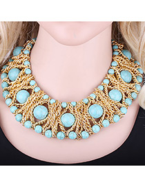 Exaggerate Green Round Shape Decorated Simple Short Chain Necklace