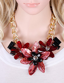 Exaggerate Red Flower Shape Pendant Decorated Simple Short Chaine Necklace