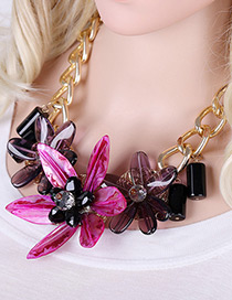 Exaggerate Purple Flower Shape Pendant Decorated Simple Short Chaine Necklace