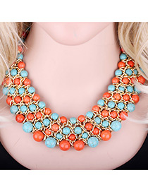 Bohemia Green+orange Round Shape Decorated Simple Multilayer Necklace