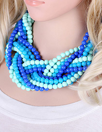 Exaggerate Blue Color-matching Decorated Hand-woven Multilayer Necklace