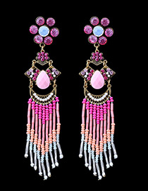 Bohemia Pink Oval Shape Diamond Decorated Simple Tassel Earrings