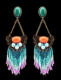 Vintage Blue Tassel Pendant Decorated Color Matching Long Earrings