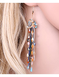 Trendy Multi-color Tassel Pendant Decorated Color Matching Long Earrings