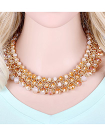 Trendy Coffee Beads Decorated Multi-layer Design Pure Color Simple Necklace