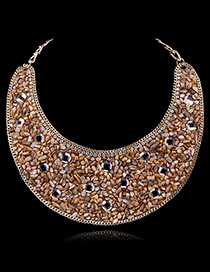 Exaggerate Coffee Round Shape Diamond Decorated Simple Collar Shape Necklace