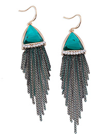 Elegant Green Triangle Shape Gemstone Decorated Simple Tassel Earrings