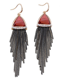 Elegant Red Triangle Shape Gemstone Decorated Simple Tassel Earrings