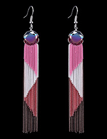 Bohemia Pink Round Shape Decorated Simple Color-matching Tassel Earrings