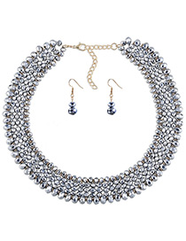 Elegant Silver Color Round Shape Decorated Simple Pure Color Jewelry Sets