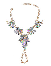 Fashion Multi-color Geometric Shape Diamond Decorated Simple Short Chain Bracelet
