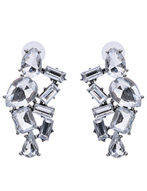 Luxury White Geometric Shape Diamond Decorated Simple Hollow Out Earrings