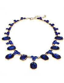 Elegant Blue Square Shape Diamond Decorated Simple Pure Color Necklace