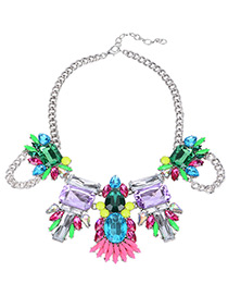 Exaggerate Multi-color Geometric Shape Gemstone Decorated Simple Short Chain Necklace