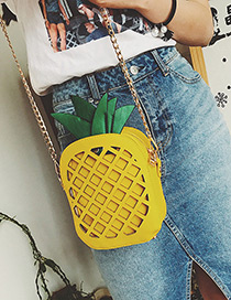 Fashion Yellow Pineapple Decorated Hollow Out Pure Color Shoulder Bag