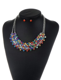 Trendy Multi-color Diamond Decorated Color Matching Simple Jewelry Set