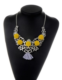 Trendy Yellow Fuzzy Balls Decorated Hollow Out Design Necklace