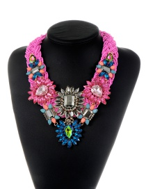 Trendy Pink Geometric Shape Diamond Decorated Flower Design Necklace
