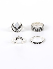 Vintage Silver Color Oval Shape Gemstone Decorated Simple Pure Color Rings (4pcs)