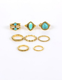 Vintage Gold Color Oval Gemstone Decorated Simple Pure Color Rings(8pcs)
