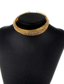 Trendy Champagne Beads Decorated Simple Design Pure Color Choker