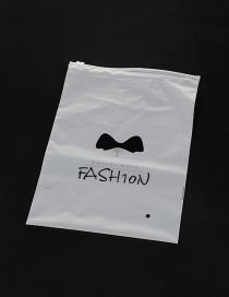 Fashion White Bowknot Pattern Decorated Pure Color Simple Plastic Hermetic Bag