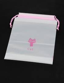 Fashion White Cats Pattern Decorated Pure Color Simple Plastic Bag