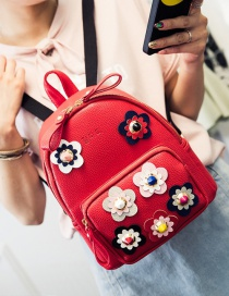 Fashion Red Flower Shape Decorated Color Matching Simple Backpack